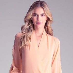 Light Peach Wrap Surplice Dress